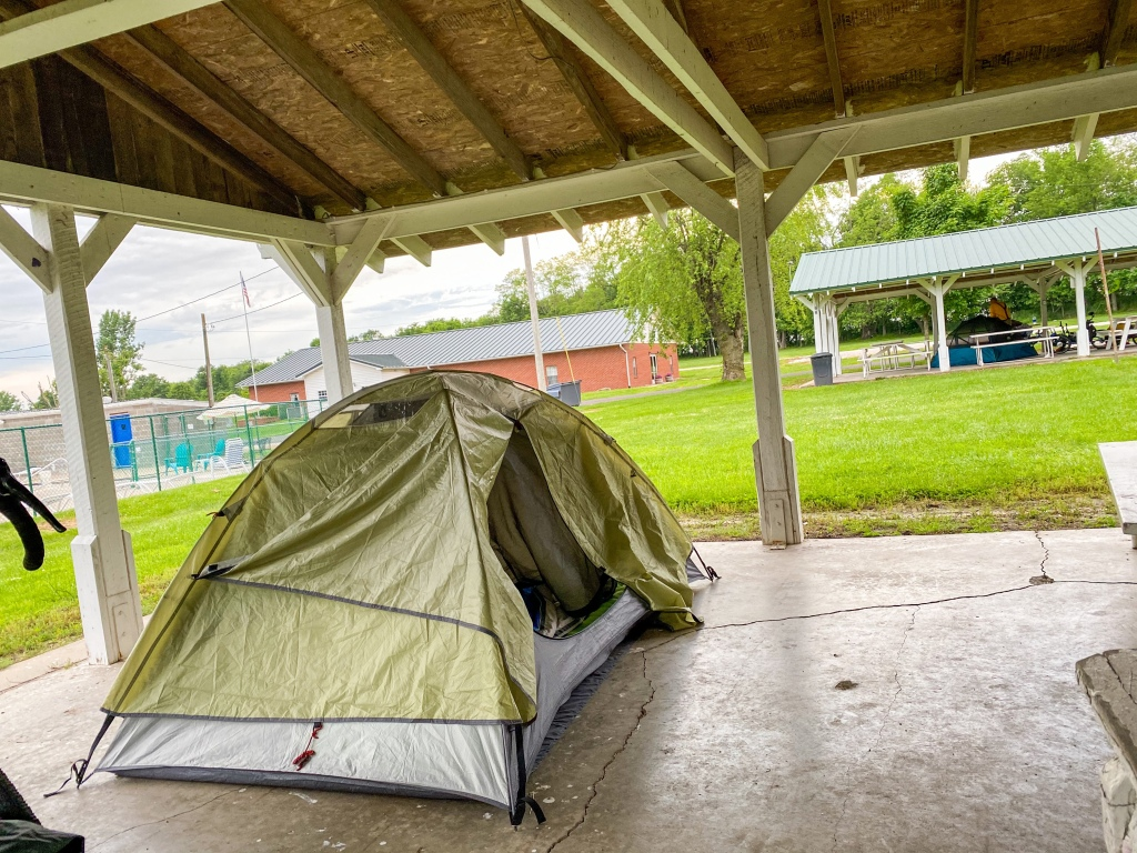 Tent setup under shelter in Pilot Grove, MO.